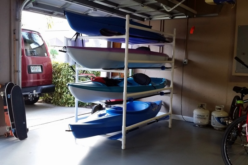 Pvc kayak rack for garage
